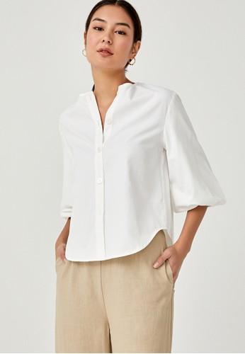 Love, Bonito white Dorcas Button Down Puff Sleeve Shirt A6D90AA6423CF1GS_1