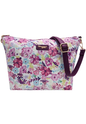 STRAWBERRY QUEEN white and purple and multi Strawberry Queen Flamingo Sling Bag (Floral R, Magenta) 041E2AC2B2CF65GS_1