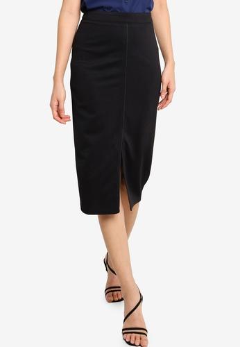 ZALORA BASICS black Contrast Stitch Detail Midi Skirt 5FDB9AA3FCF679GS_1