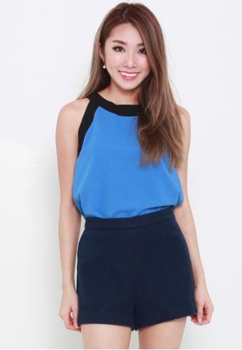 Leline Style blue Elena Color Block Blouse LE802AA95FZWSG_1