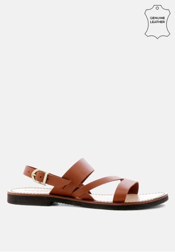 RAG & CO brown Leather Flat Sandal with Ankle Strap 43BEFSH19083E4GS_1