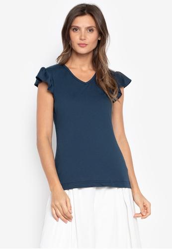 moondaze blue Nancy Ruffle Sleeves Top ADDDAAA406216EGS_1