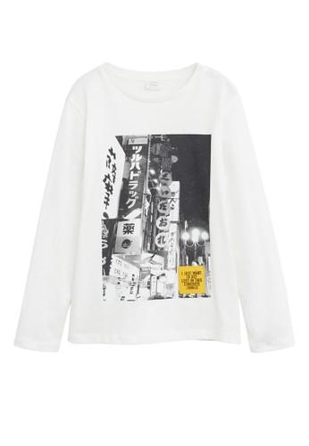 MANGO KIDS white Printed Cotton-Blend T-Shirt 55C67KAE94682AGS_1