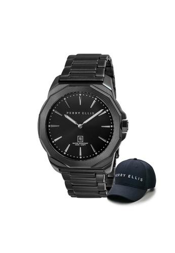 Perry Ellis black Perry Ellis Decagon Men 46mm Quartz Stainless Steel Watch 05006-02 with Perry Ellis Cap CEB51AC7F3572EGS_1