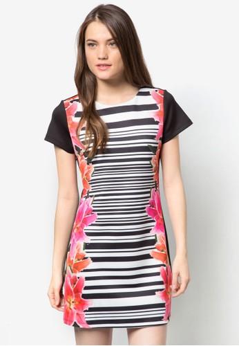 條紋花卉連身zalora 評價裙, 服飾, 短洋裝