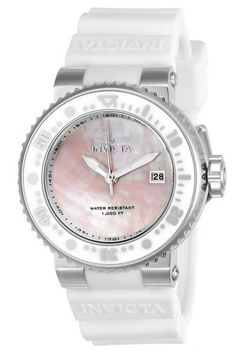 Invicta white Invicta Pro Diver Men 40mm Case White Silicone Strap Pink, Antique Silver Dial Quartz Watch 22667 w/ Cap IN968AC0FFF1SG_1