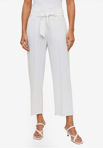 Mango beige Belt Crop Trousers 0E26DAADB1313EGS_1