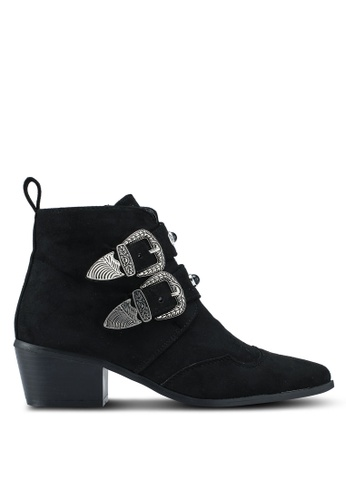 MISSGUIDED black Western Double Strap Ankle Boots 4C86ESH9D1CF88GS_1