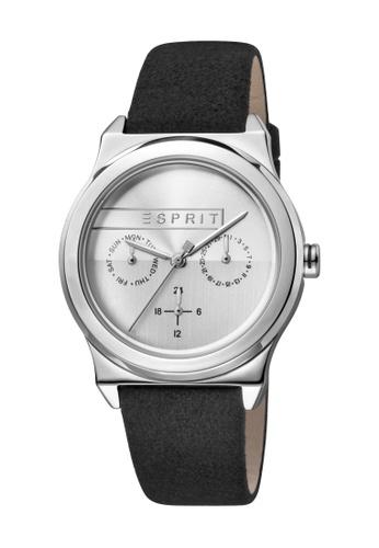 Esprit black ESPRIT [Magnolia Multi] 36mm Black Leather Strap Women Watch [ES1L077L0015] C7BF0AC0E9B452GS_1