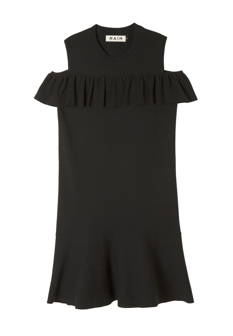 Midi Black Dress Knit Flare NAIN S8wPSq