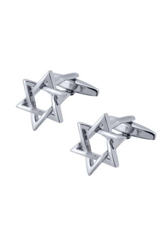 Kings Collection silver Lucky Silver Hexagonal Star Cufflinks (KC20345) A4FB1AC3957FDCGS_1