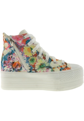 Maxstar multi Maxstar Women's C50 7 Holes Zipper Platform Canvas High Top Flower Sneakers US Women Size MA164SH39POYSG_1