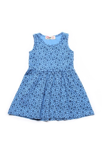 Mini Moley blue Floral Design Girl's Dress 2A78FKA702592DGS_1