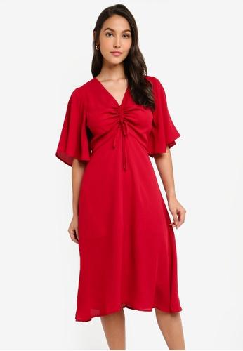 ZALORA 粉紅色 褶飾喇叭袖洋裝 58EE1AAE91D3FBGS_1