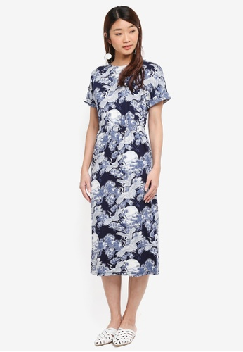 WAREHOUSE blue Crane Print Jersey Midi Dress DF863AA8AD5CC1GS_1