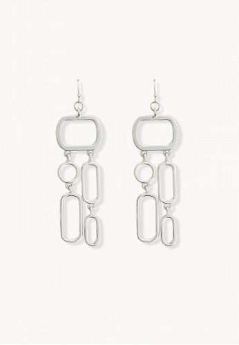 Pomelo silver Geometric Drop Earrings - Silver 27186ACBC0A67BGS_1