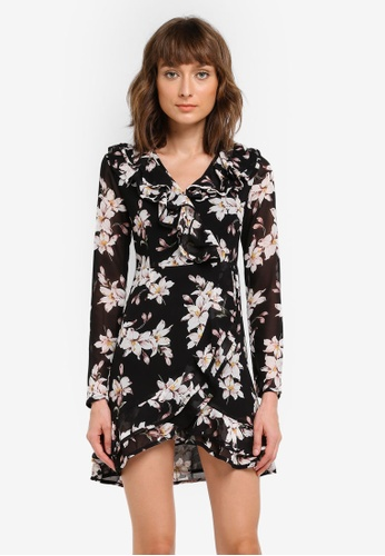 MISSGUIDED black Floral Frill Detail Wrap Over Mini Dress MI511AA0SP6YMY_1