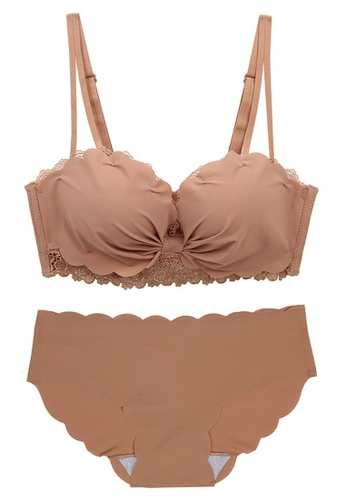 ZITIQUE Embroidered Sexy Lace Non-steel Ring Bra Set-Pink 40C48USCA488F1GS_1