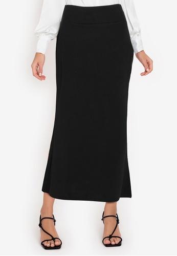 ZALORA WORK black Fishtail Hem Knitted Skirt 202B0AA7621F50GS_1
