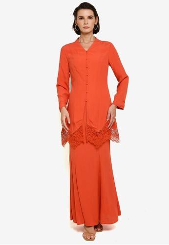 Zalia orange Long Kebaya With Border Lace Set 3C552AA6B7DA8FGS_1