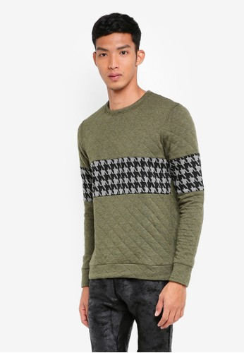 UniqTee green Textured Sweater With Contrast Band 49D6CAAEEF2C58GS_1