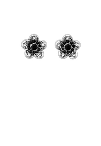 Glamorousky silver Charming Flower Earrings with Black Austrian Element Crystals 3C0DDAC2076140GS_1