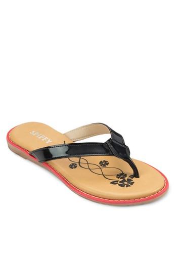 舒適zalora 手錶印花夾腳拖, 女鞋, 拖鞋