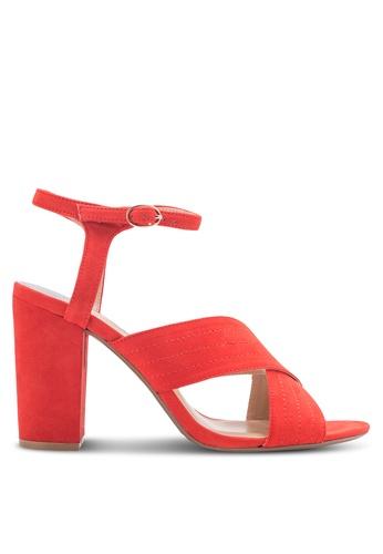 Dorothy Perkins 橘色 寬帶交叉繞踝粗跟鞋 DO816SH29AZAMY_1