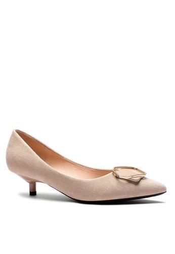 Twenty Eight Shoes 3.5CM尖頭扣飾絨面高踭鞋296-48 8910BSHCB23B6BGS_1
