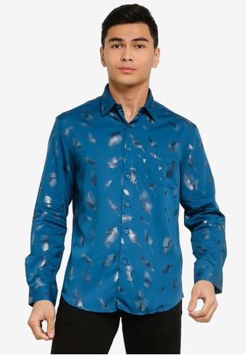 Electro Denim Lab blue Foil Printed Shirt 07658AA2C478CEGS_1
