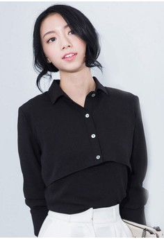 Cropped Surreal Layered Top