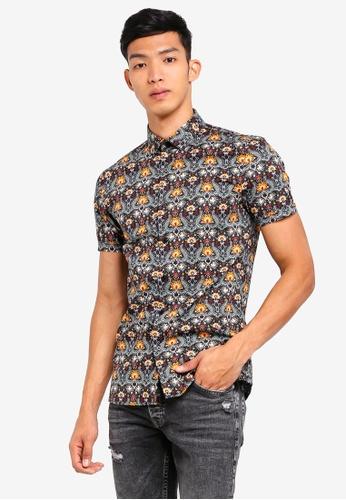 Topman multi Rising Sun Short Sleeve Shirt 0EBDEAAF61B20AGS_1