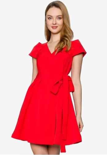 Saturday Club red A-line Dress With Folded Detail 5E1DEAAF1786E0GS_1