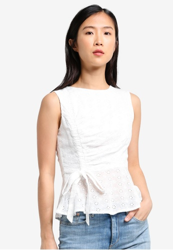 ZALORA white Drawstring Peplum Top 0069EAA4825268GS_1