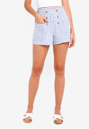 TOPSHOP blue Gingham Broderie Shorts 81B10AA8A93BCBGS_1