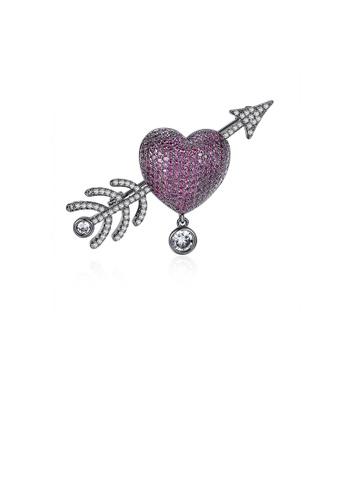Glamorousky 紫色 優雅璀璨鍍黑色心形丘比特之箭胸針配紫色鋯石 182E5AC119DE35GS_1