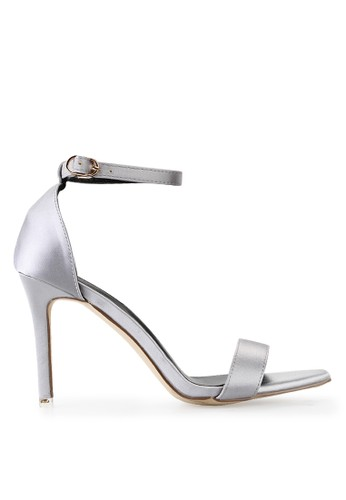 Mandy's Monogram Grey Satin Heels