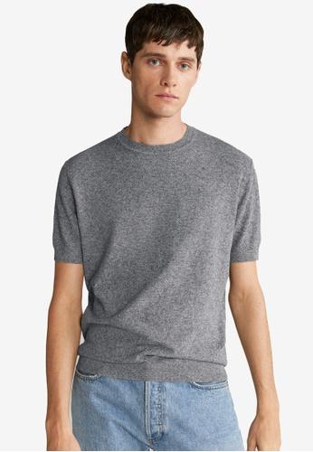Mango Man 灰色 針織T恤 79609AAA24D317GS_1