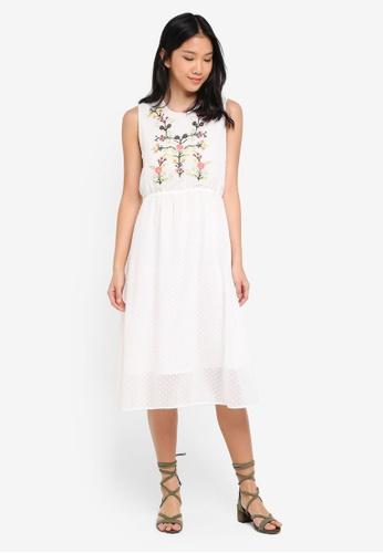 ZALORA white Embroidered Midi Dress CD4EAAAB07672FGS_1