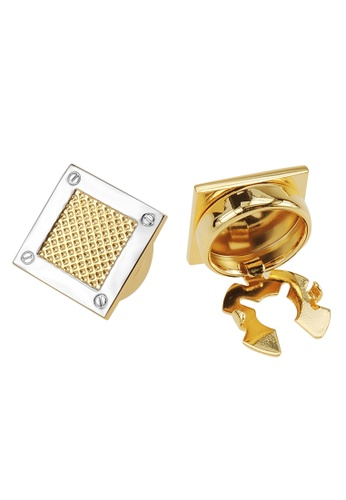 CUFF IT silver and gold Two Tone Gold Spot Square Button Cover Cufflinks 20FCDACE02644AGS_1