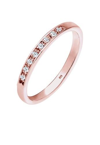 Elli Germany gold Perhiasan Wanita Perak Asli - Silver Cincin Sparkling Diamond (0.08 ct.) Rosegold Plated EL948AC0V8RIID_1