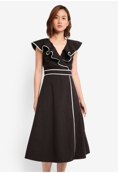 ZALORA black Ruffle Midi Dress With Contrast Binding 483E2AA7E484FBGS_1