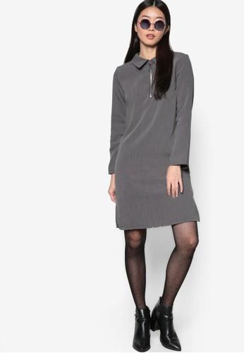 韓系時尚圓zalora 包包評價環飾襯衫領連身裙, 服飾, 洋裝