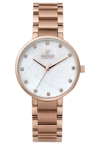 OBAKU gold Women's Analogue Quartz Watch in Mother of Pearl Dial and Rose Gold Link Bracelet FB623ACE972295GS_1