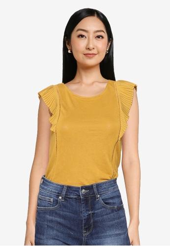 Springfield yellow Pleated Flounced Shoulder T-Shirt C029DAA8BC8BA2GS_1