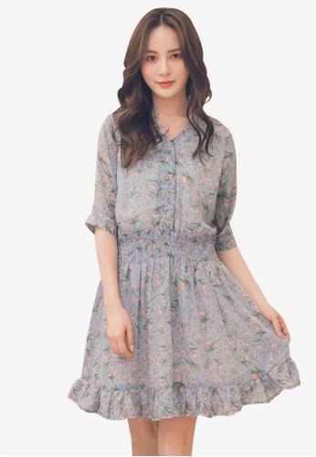 Yoco blue Floral V-Neck Chiffon Dress E8215AA2DFACA5GS_1