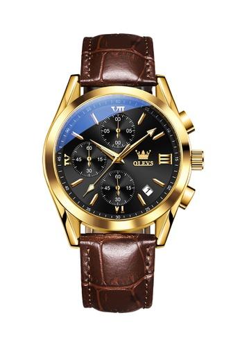OLEVS brown Olevs Grand Lumino Men Chronograph Wrist Watch 82B1AACF1E7152GS_1