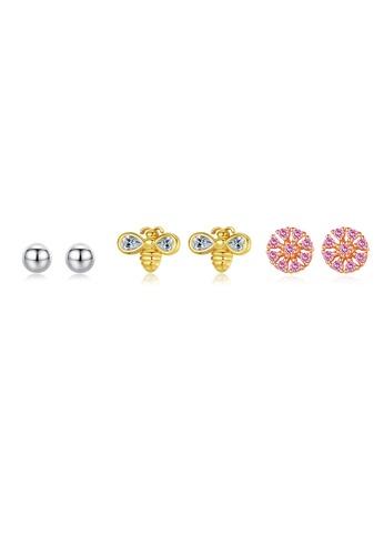 SUNRAIS gold High quality Silver S925 golden flower earrings C79B0ACE7E31A1GS_1