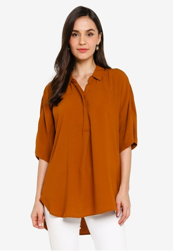 LC Waikiki orange Short Sleeve Curved Hem Shirt 2EEACAABA54A74GS_1