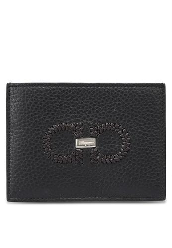 Ferragamo black Braided Gancini Leather Card Case (oc) C1516AC370D82FGS_1